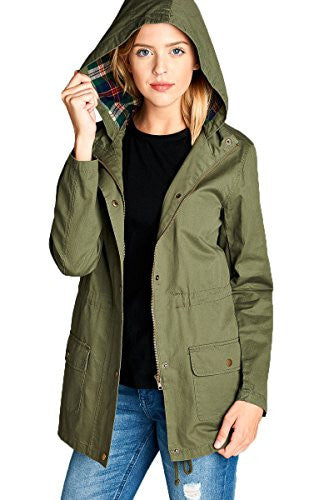Anorak Lightweight Utility Army Military Jacket Parka Drawstring Plaid Lining