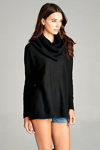 Califul Women Oversized Turtleneck Loose-fit Long Cowl Neck Pullovers Sweater (Medium, SW02 Dolman Black)