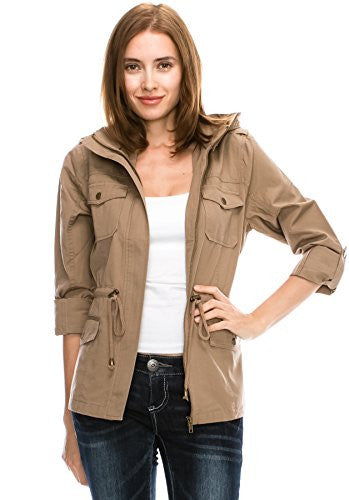 Califul Anorak Lightweight Utility Army Military Jacket Parka Drawstring (Medium, Khaki)