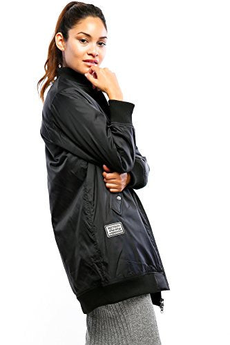 Califul Bomber Jacket Utility Short Vintage Coat (Small, BB05 Longlined Black Patch)