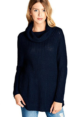 Califul Women Oversized Turtleneck Loose-fit Long Cowl Neck Sweater (Small, Navy)