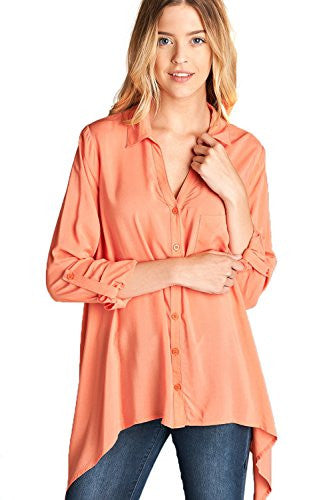 Button Down Long Sleeve Asymmetrical Trapeze Hem Tunic Shirts Tops