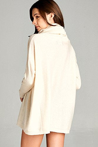 Califul Women Oversized Turtleneck Loose-fit Long Cowl Neck Pullovers Sweater (Medium, SW02 Dolman Oatmeal)