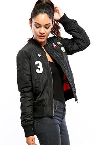 Califul Bomber Jacket with patches Short Vintage Coat (Large, Black Applique)