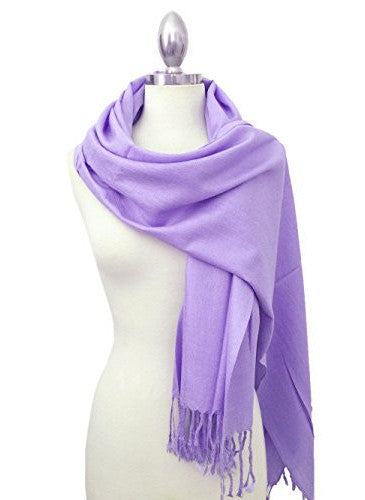 Large Solid Colors Soft Pashmina Scarf Shawl Wrap Throw 100% Acrylic (Lavender)
