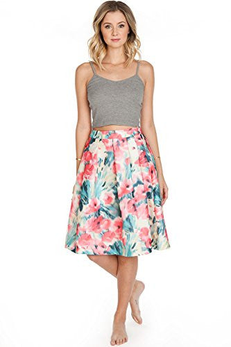 Califul 3D Look Double Layered Floral Pleated A-line Skirt NEW