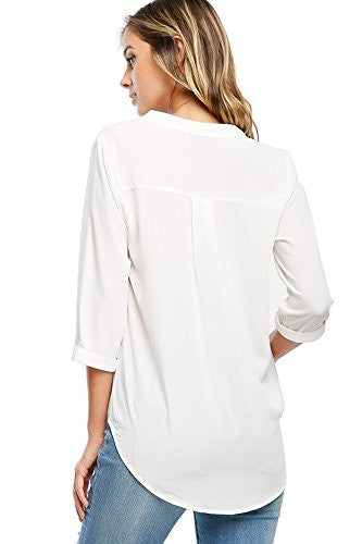 Chiffon Ladies V-Neck Cuffed Sleeve Draped Front Blouse Tops