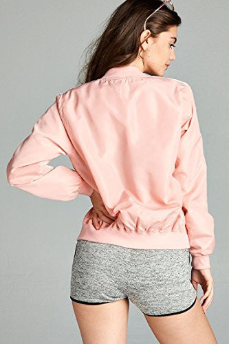 Califul Bomber Jacket Utility Short Vintage Coat (Small, BB06 Double Stripe Pink)