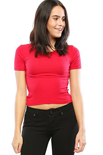 Womens Fitted Crewneck Short Sleeve Ribbed Crop Top