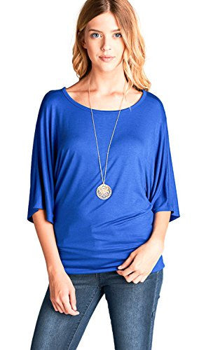 Dolman Sleeve Round Neck Wide Waist Band Spandex Jersey Tunics Top