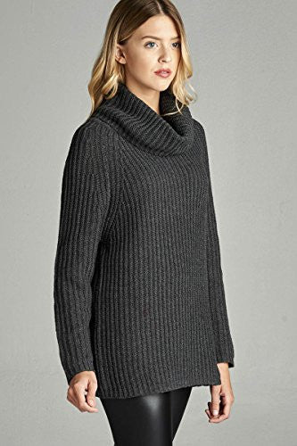 Califul Women Oversized Turtleneck Loose-fit Long Cowl Neck Sweater (Medium, Charcoal Grey)