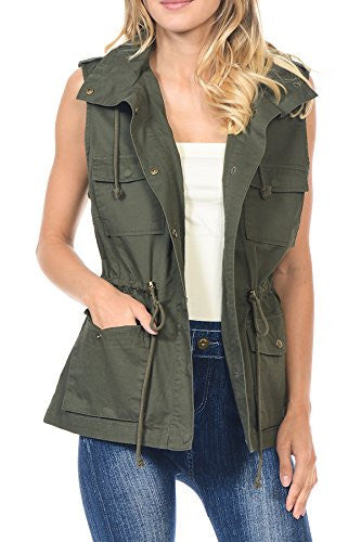 Califul Anorak Lightweight Utility Hooded Parka Sleeveless Vest with Drawstring