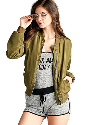 Califul Bomber Jacket Utility Short Vintage Coat (Medium, BB06 Double Stripe Olive)