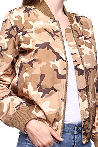 Califul Bomber Camo Camouflage Jacket Short Vintage Coat (Medium, Camo Khaki)