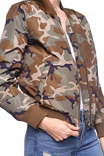 Califul Bomber Camo Camouflage Jacket Short Vintage Coat (Medium, Camo Olive)