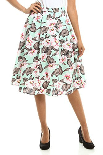 Califul High Waist Floral Pleated Midi Skirt