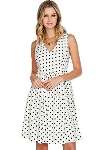 Califul Polka Dot V-Neck Sleeveless Pleated Dress