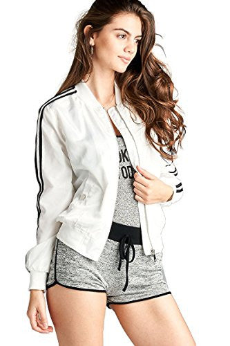 Califul Bomber Jacket Utility Short Vintage Coat (Large, BB06 Double Stripe White)