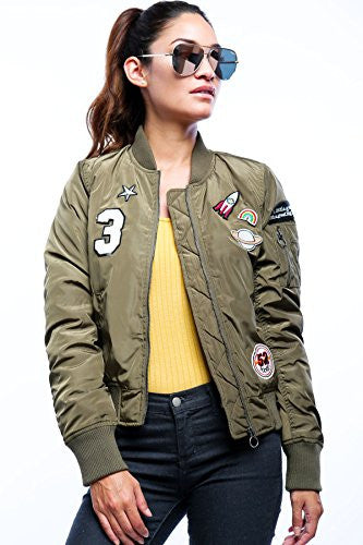 Califul Bomber Jacket with patches Short Vintage Coat (Small, Olive Applique)