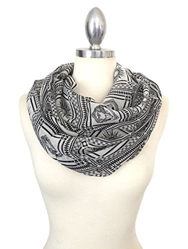 Califul Lightweight Scarves: Fashion Print Scarf Shawl Wrap For Women (Infinity Scarf 5030 White)