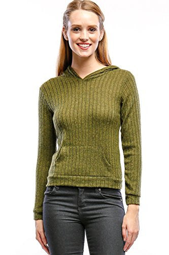 Califul Hoodies Pullover Sweaters Brushed Ribbed Knit Casual Sweatshirt
