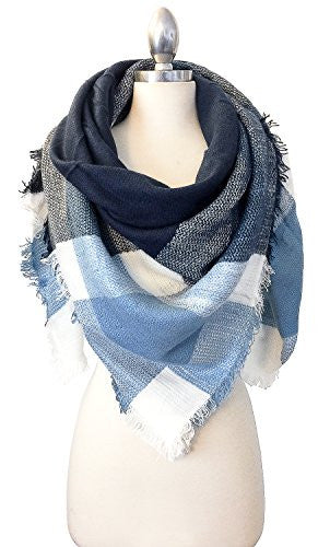 Califul Plaid & Tartan Oversized Blanket Scarf (Oversized Blanket, SC01 Big Grid Navy Chambray)