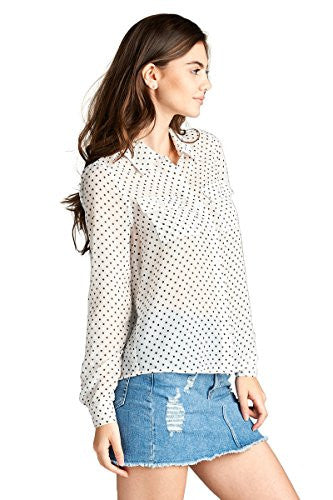Basic Long Sleeves Sheer Chiffon Blouse with Pockets Shirt Top with Polka Dots