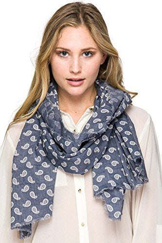 Califul Fashion Fall Winter Leafy Paisley Print Scarf Neck Wraps (MMS2232 Denim Blue)
