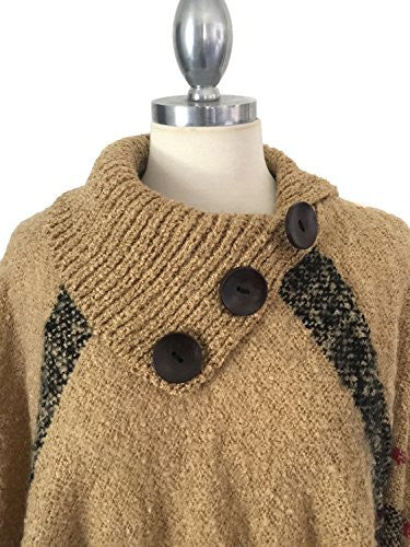 Califul Women's Turtleneck Pullover Knitted Sweater Batwing Tassels Poncho Cape Winter Knit (PO01 Button Turtleneck, Beige)