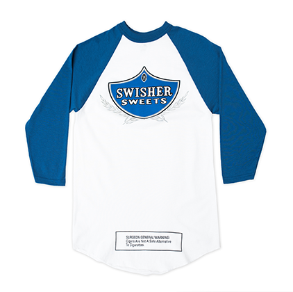 White & Blue 3/4 Sleeve Baseball Shirt