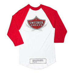 White and Red 3/4 Sleeve Baseball Shirt