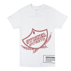 White Swisher Sweets Outlined Shield Tee