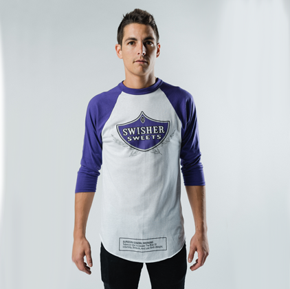 White & Purple 3/4 Sleeve Baseball Shirt