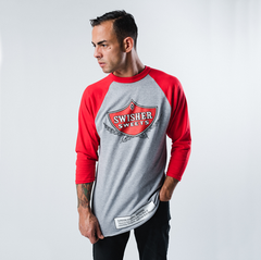 Gray & Red 3/4 Sleeve Baseball Shirt