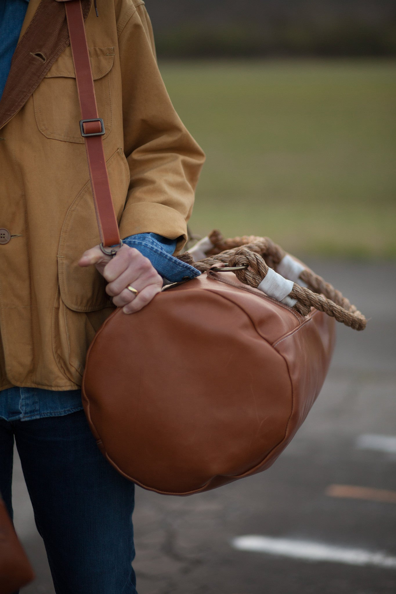 Hunker Bag Co: Horween leather and waxed canvas duffel bag