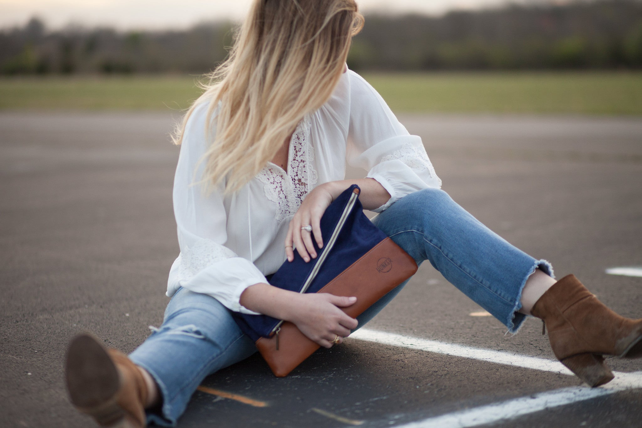 Hunker Bag Co: Horween leather and suede clutch