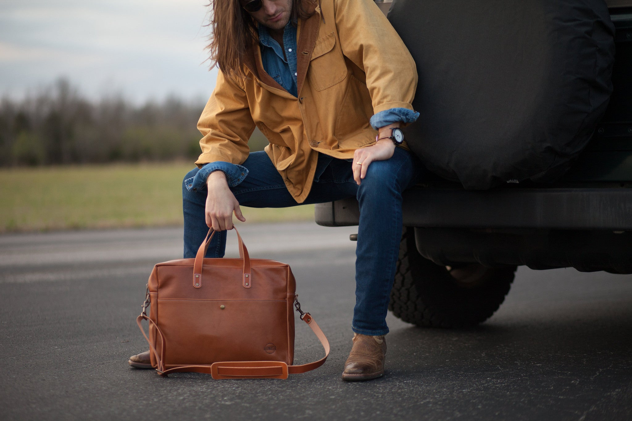 Hunker Bag Co: Horween leather briefcase