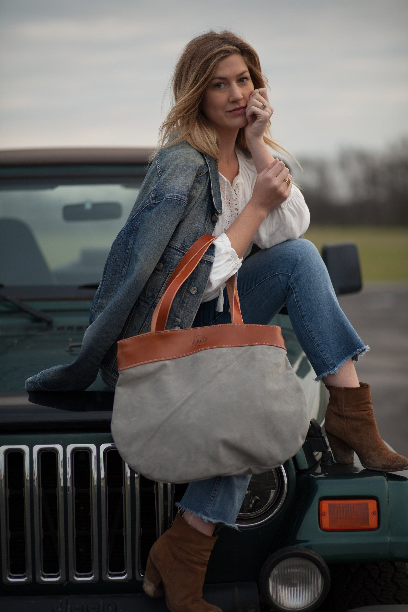 Hunker Bag Co: Horween leather and suede tote bag
