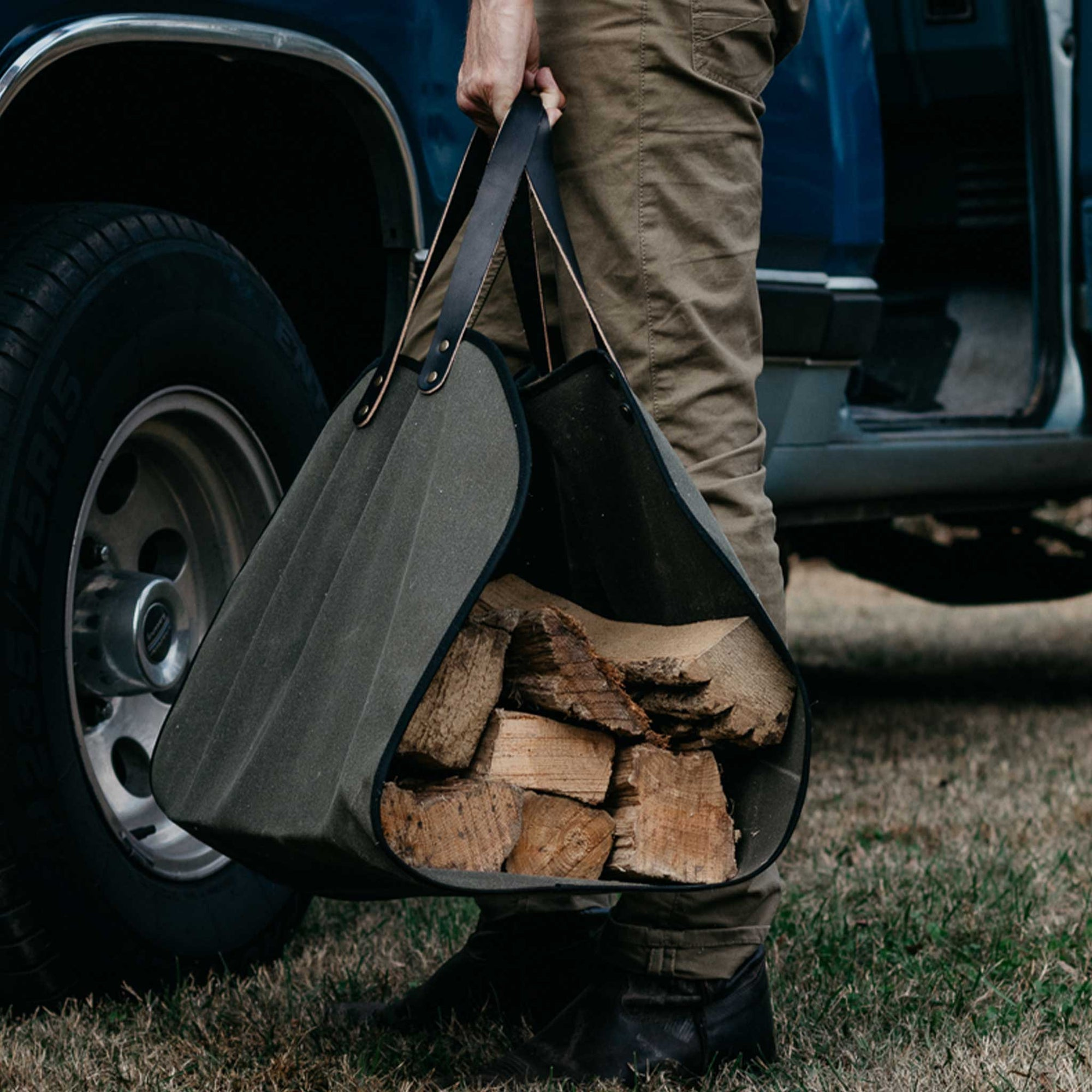 Rugged Waxed Canvas Log Carrier