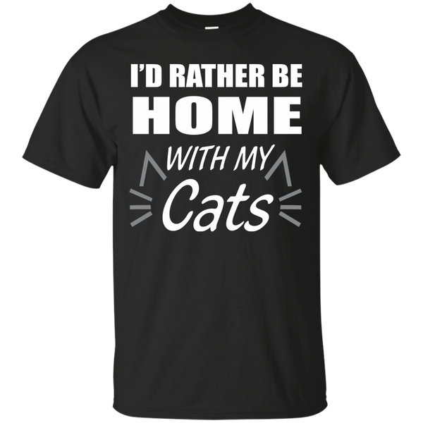 Cat Lover T-Shirts Hoodies I'd Rather Be At Home With My Cats - Blue Fox