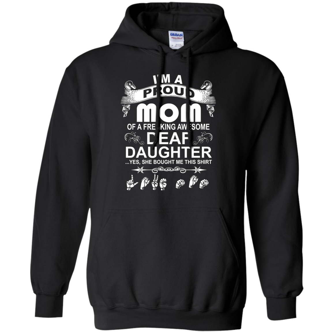 ASL T-Shirts Hoodies Proud Mom Of Awesome Deaf Daughter - Blue Fox