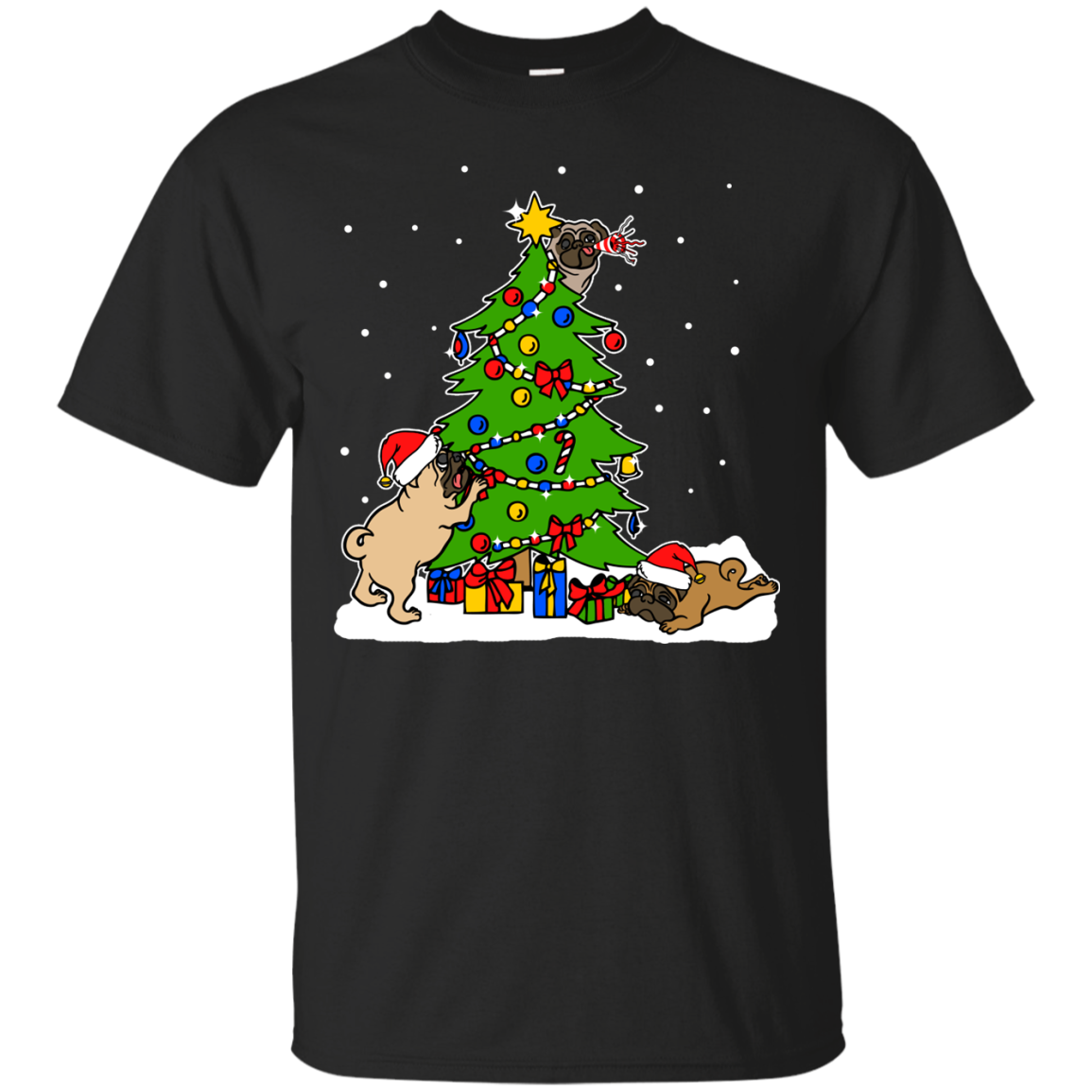 Christmas Pugs T shirts Hoodies For Pug Lovers