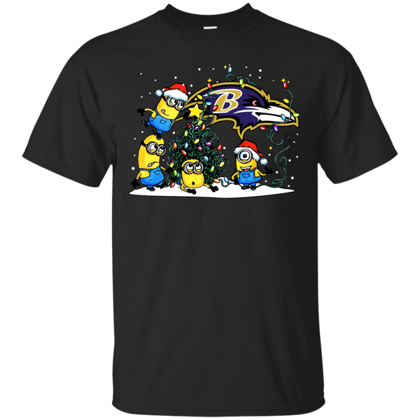 Baltimore Ravens Minions Shirts Merry Christmas T-Shirts Hoodies Sweatshirts - Blue Fox