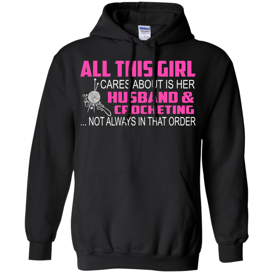 Crochet T-Shirts Hoodies All This Girl Cares About Is Her Husband and Crocheting - Blue Fox