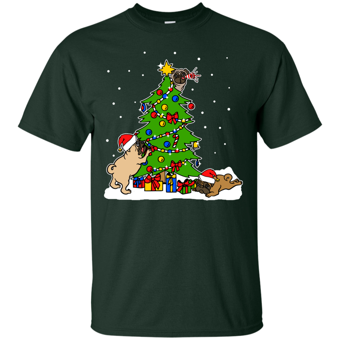 Christmas Pugs T shirts Hoodies For Pug Lovers - Blue Fox