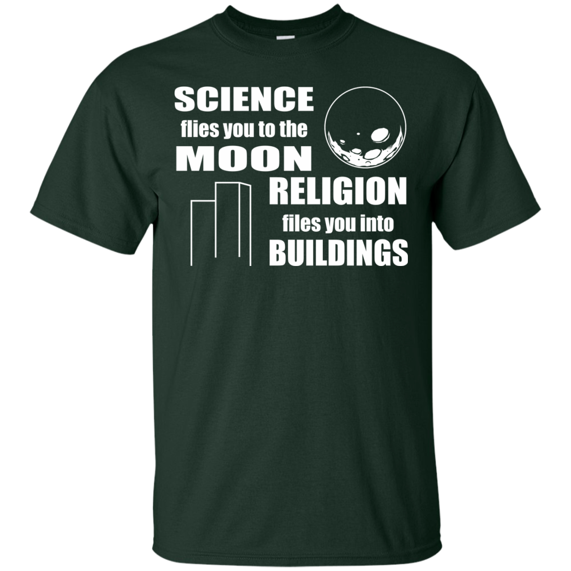 Atheist T-Shirts Hoodies Science Flies You To The Moon Religion Into Buildings - Blue Fox