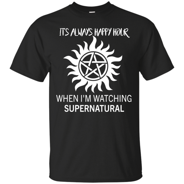Supernatural Shirts It's Always Happy Hour When I'm Watching Supernatural T shirts Hoodies Sweatshirts - Blue Fox