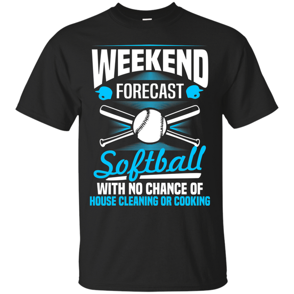 Sports Softball Shirts Weekend Forecast Softball no house cleaning or cooking T-shirts Hoodies Sweatshirts - Blue Fox