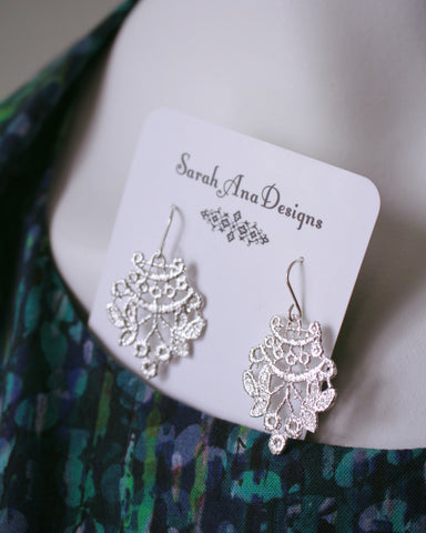 Delicate Chantilly Lace Earrings-Sterling Silver
