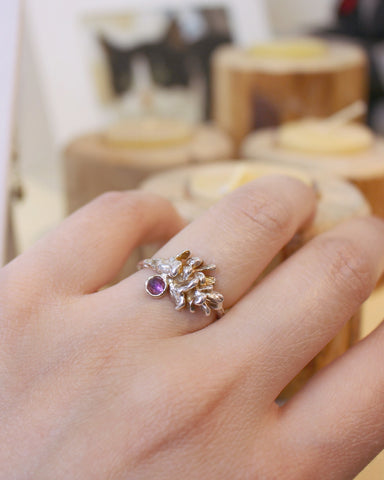 Ethereal and Romantic Destined Amethyst Pinecone Ring-Gold plated sterling silver